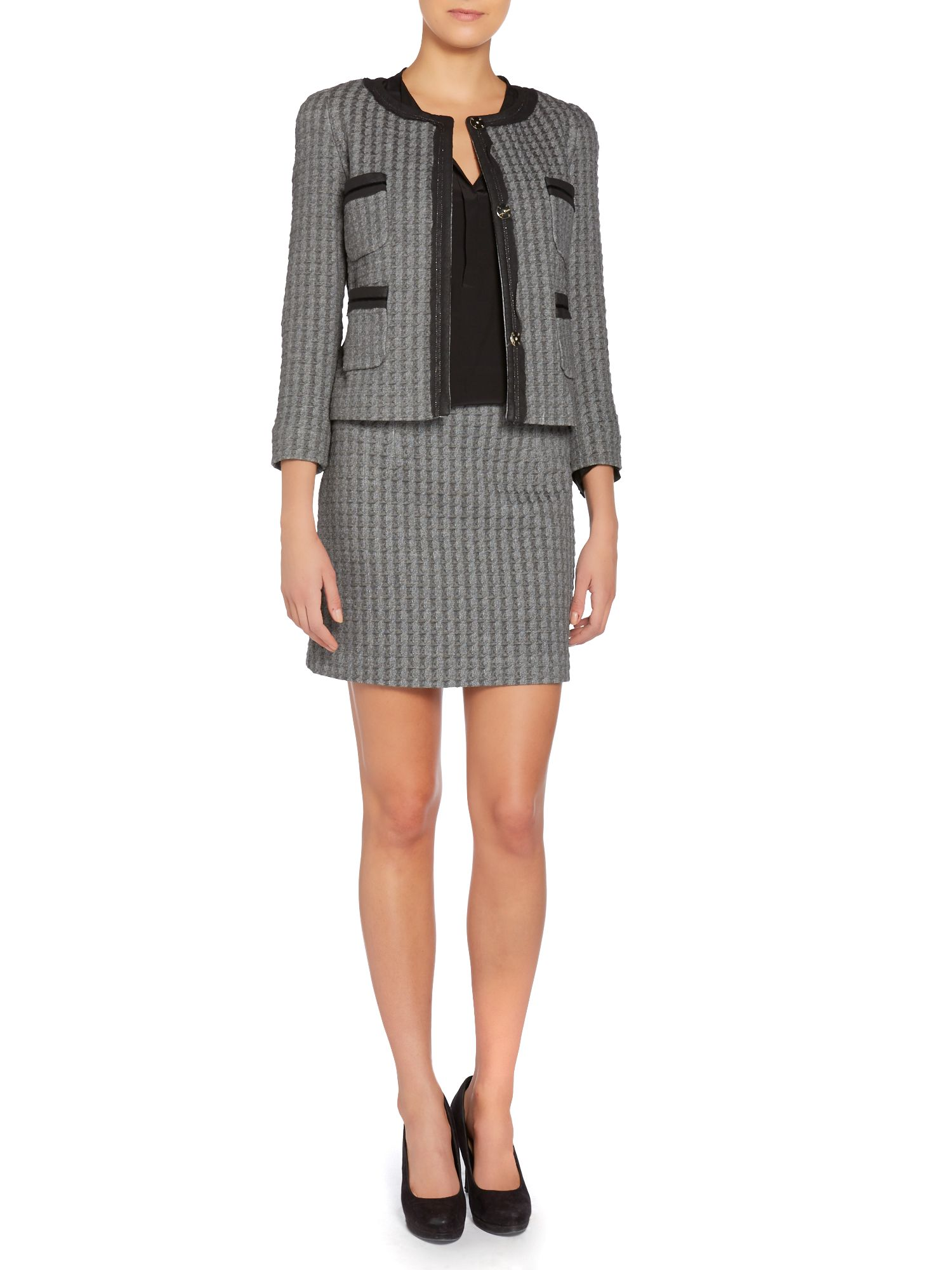 Emporio houndstooth check a line skirt