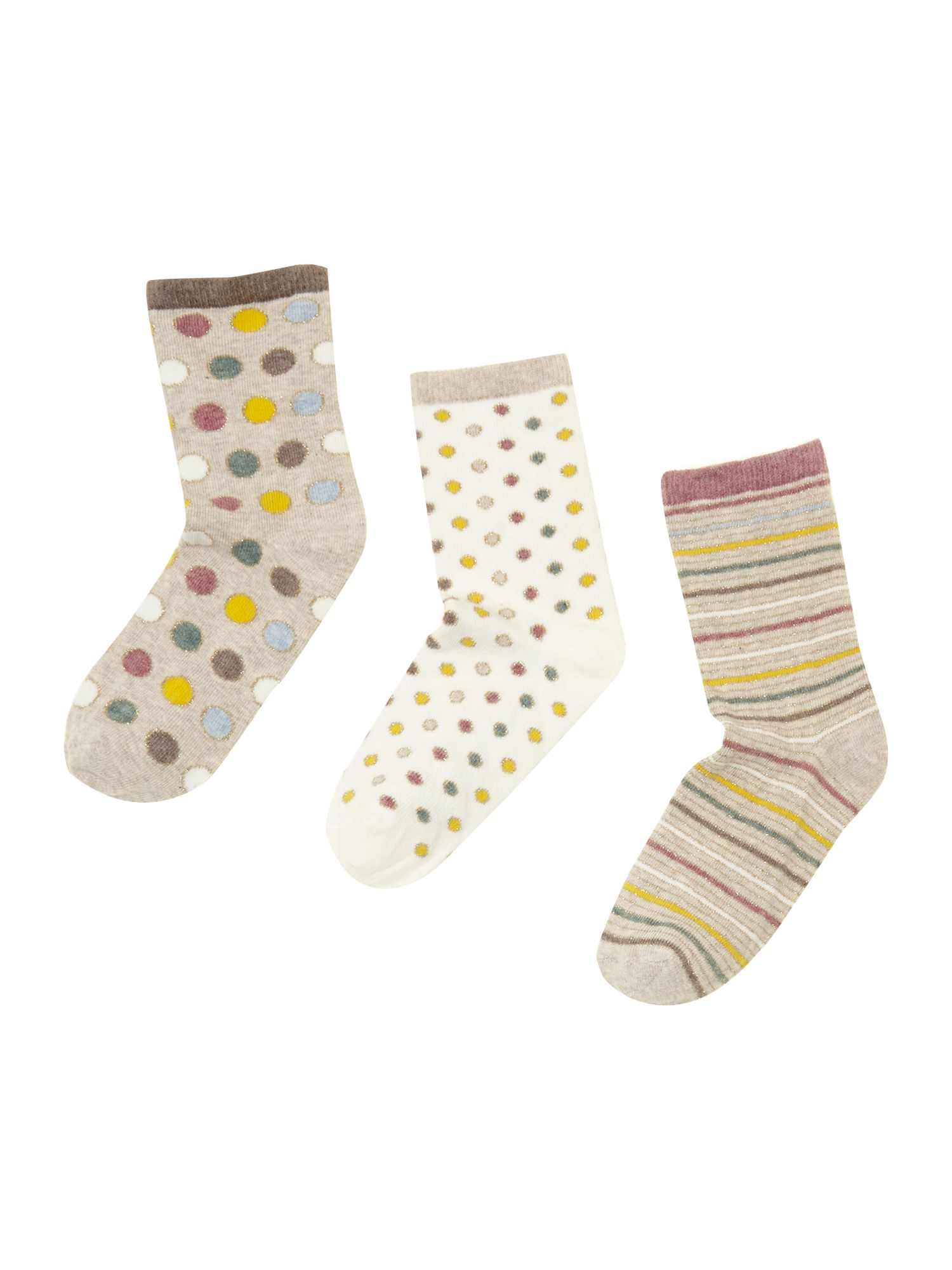 Girls 3 pack glitter socks