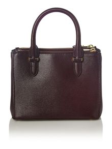 Burgundy mini double zip tote bag