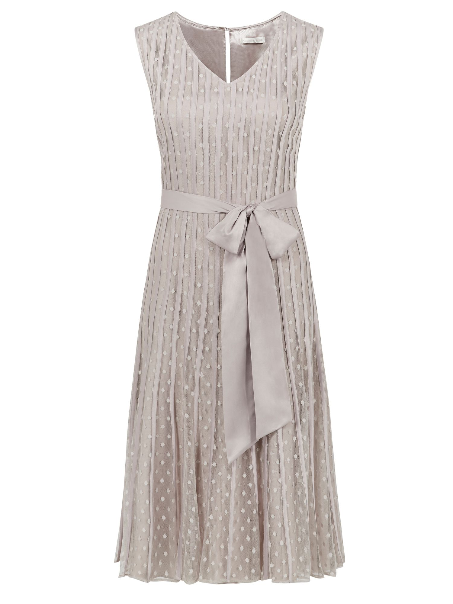 Jacques Vert Banded Spot Flared Dress Neutral