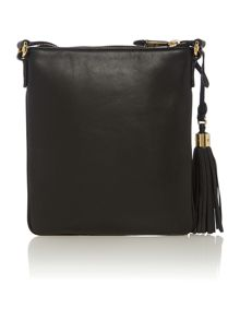 Balck medium flat cross body bag