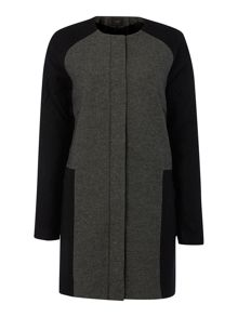 Long sleeve colour block coat
