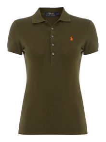 Short sleeved button down polo top