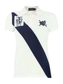 Short sleeved stripe polo top