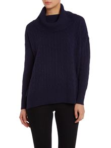 Cable knitted cowl neck jumper
