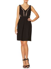 Sleeveless jersey dress with lace panels