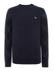 Tartan sleeve crew neck sweat
