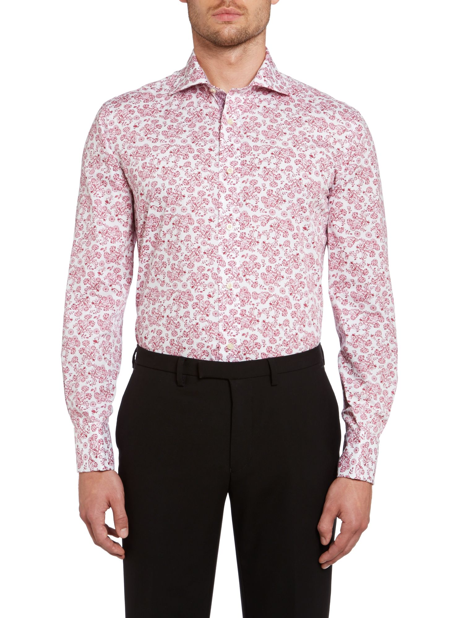 Pluton regular fit double cuff jacquard shirt