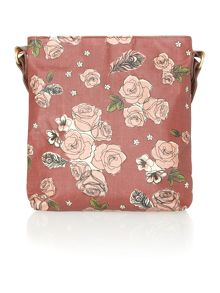 Helen red floral cross body bag