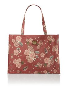 Helen red floral shopper bag
