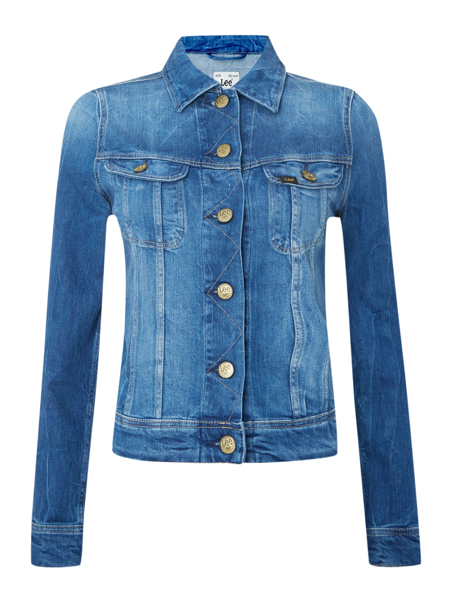 Sleeveless rider denim jacket in spring blue