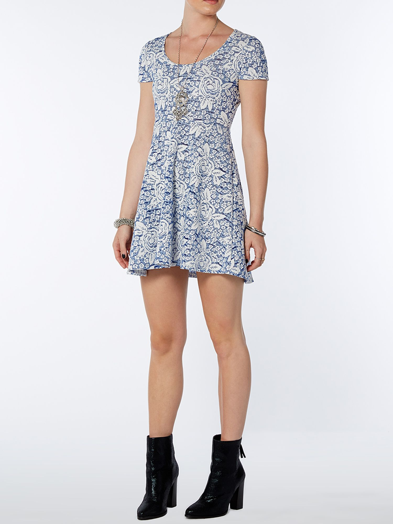 Rose print jacquard fit and flare dress