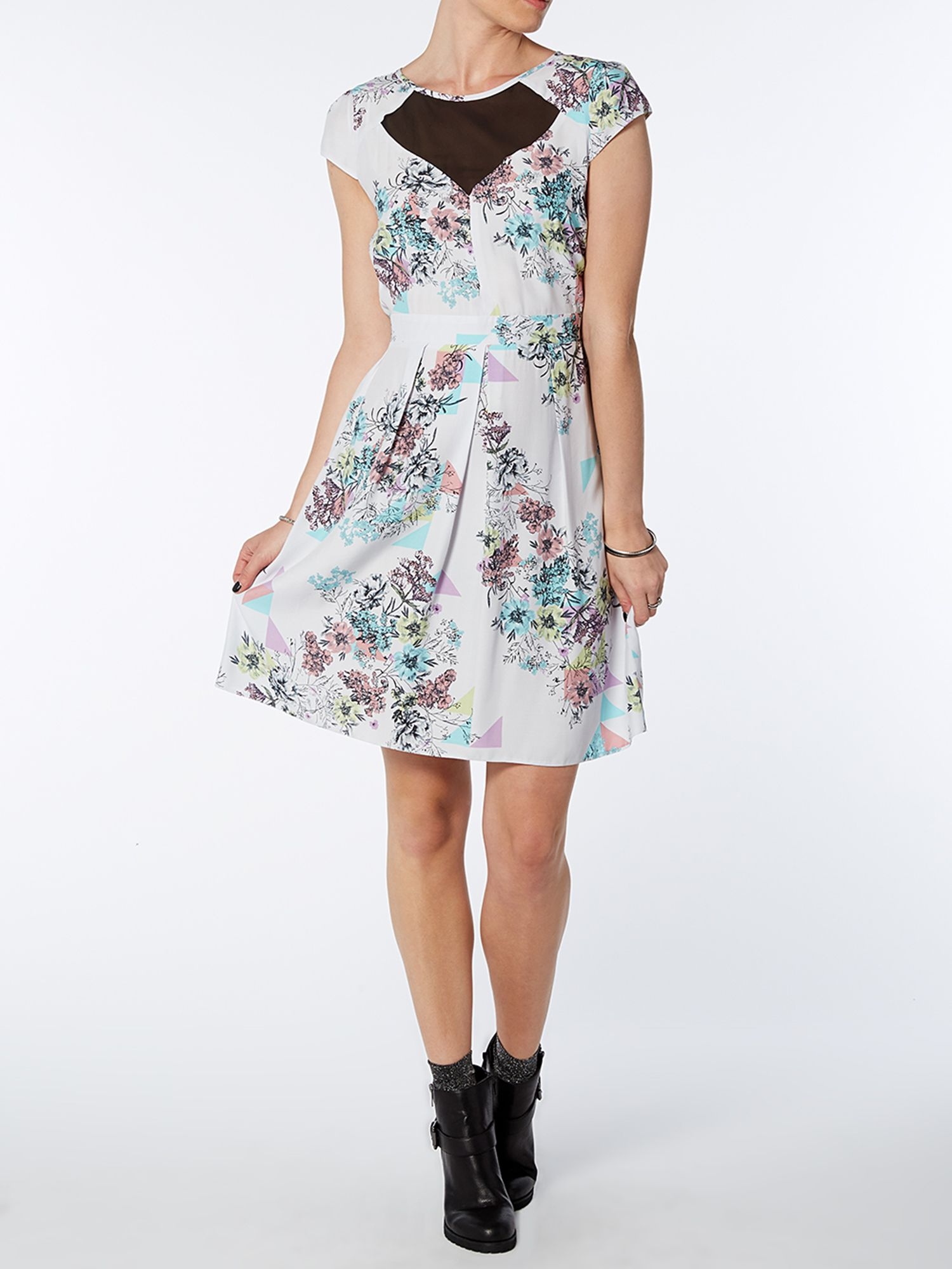 Geo floral chiffon dress