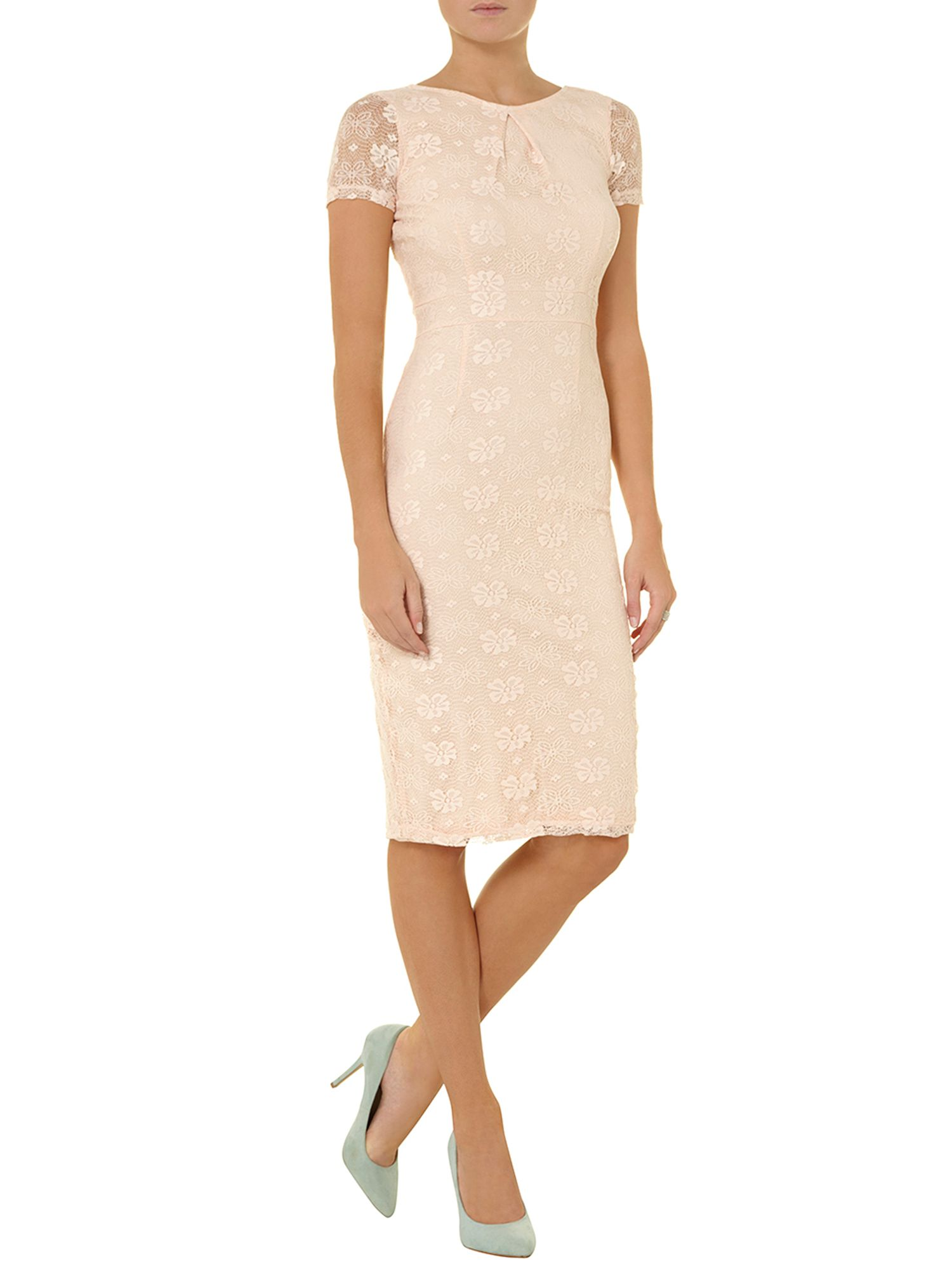 Blush lace pencil dress