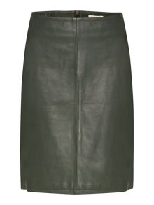 Zip detail leather skirt
