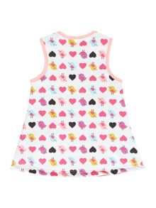 Baby girls reversible dress bird & stripe print