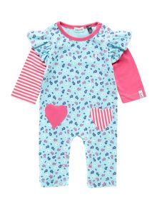 Baby girls heart pocket romper with mock sleeves