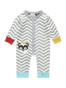 Babys chevron print sleepsuit with panda face