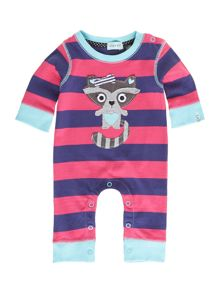 Baby girls racoon applique sleepsuit