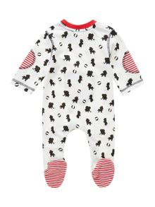 Babys ditsy and stripe sleepsuit with pocket