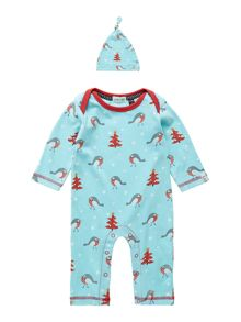 Babys christmas robin sleepsuit with hat