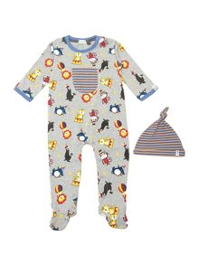 Baby boys circus print sleepsuit with hat