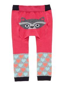 Baby girls knit legging with racoon reverse