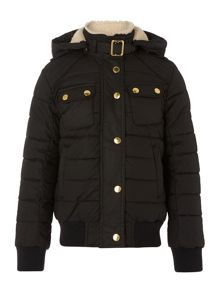 Girls Invergarry waxed bomber jacket hood