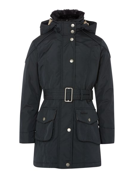 Barbour Girls outlaw parka jacket with tartan lining
