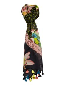 Floral border with tassels silk mix scarf