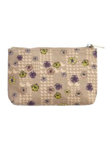 Blake neutral floral small cosmetic bag