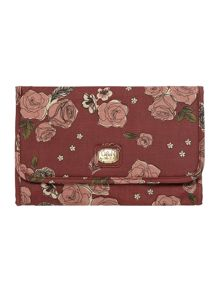 Helen red floral large cosmetic bag