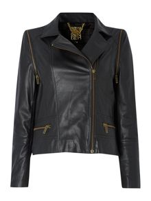 Leather biker jacket with zip off sleeves