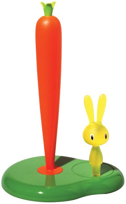 Alessi Bunny & Carrot Kitchen Roll Holder, Green