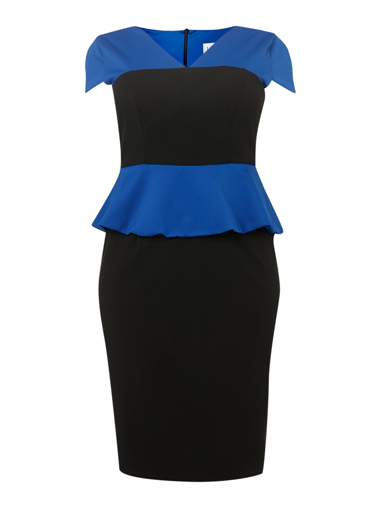 Cap sleeved peplum detail dress