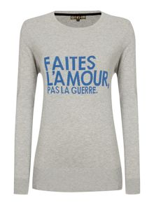 Make love not war french slogan jumper
