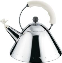 Alessi Hob Kettle with Bird Whistle, White Handle