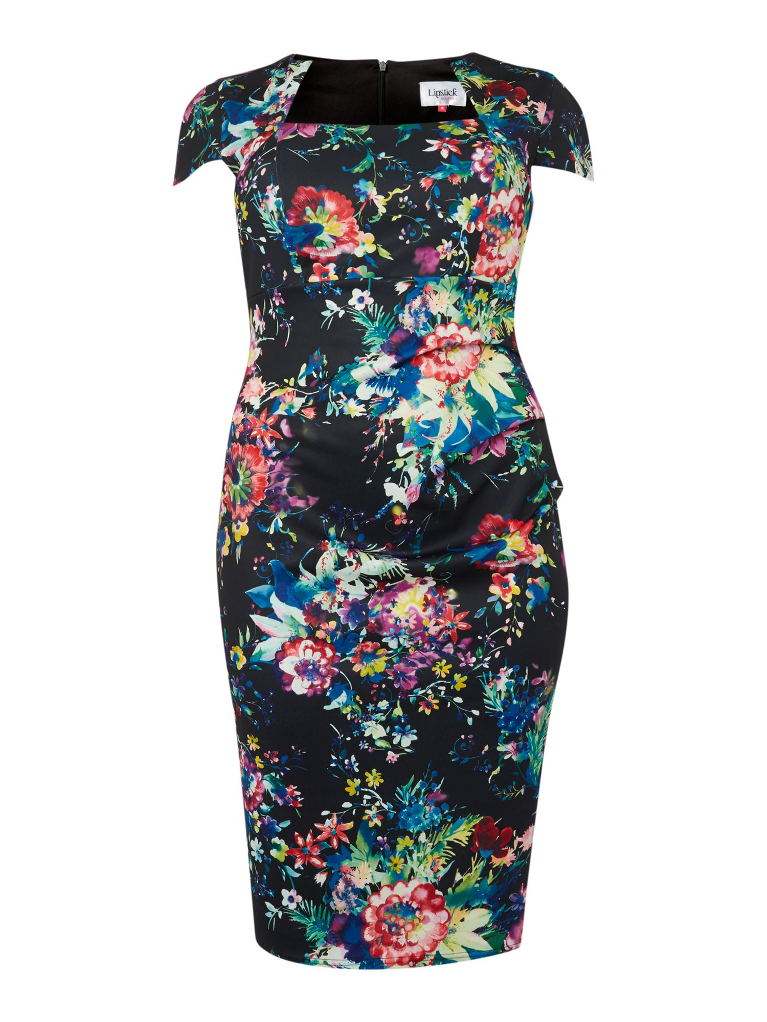 Cap sleeved print bodycon dress