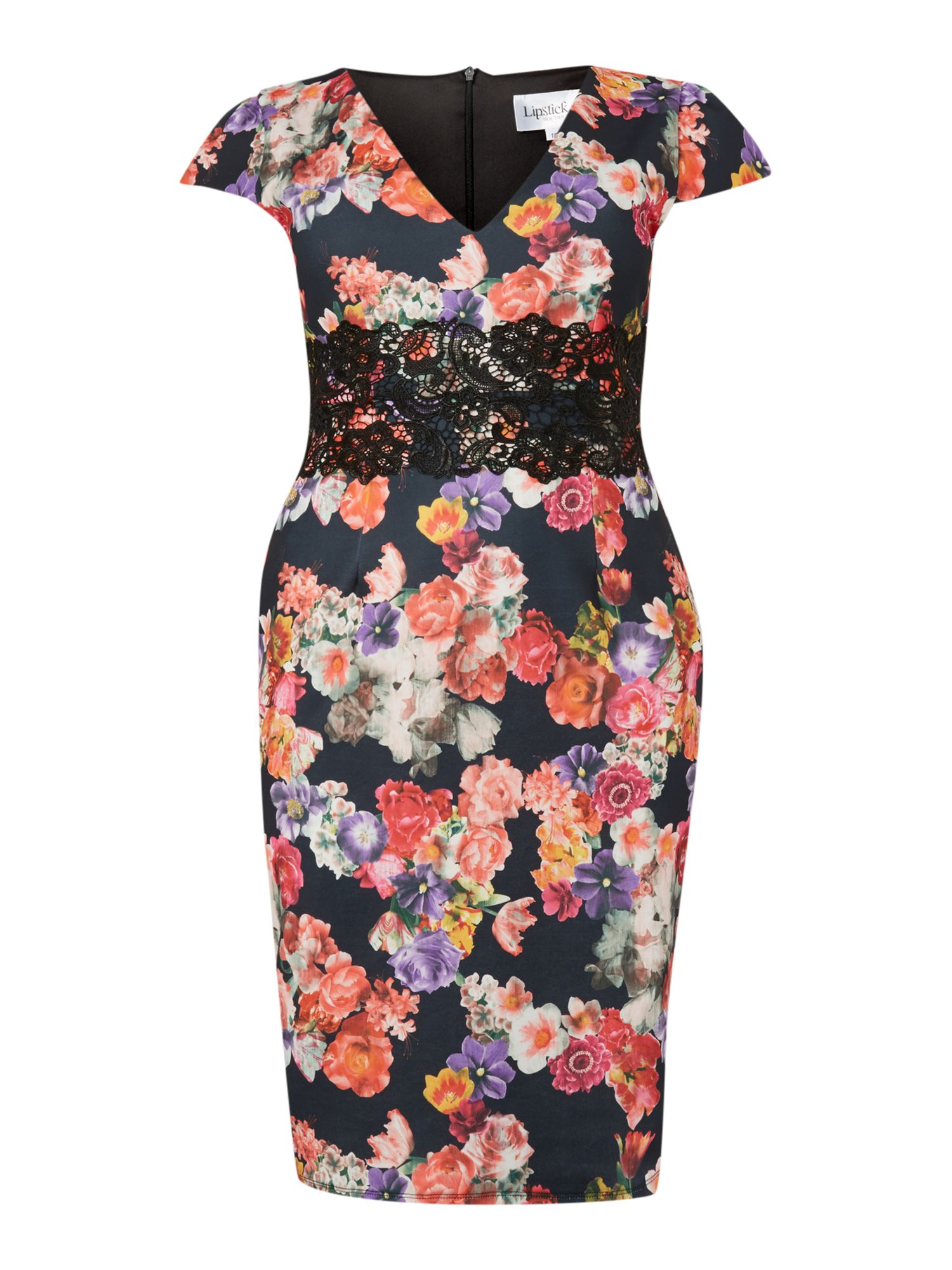 Cap sleeved floral print dress
