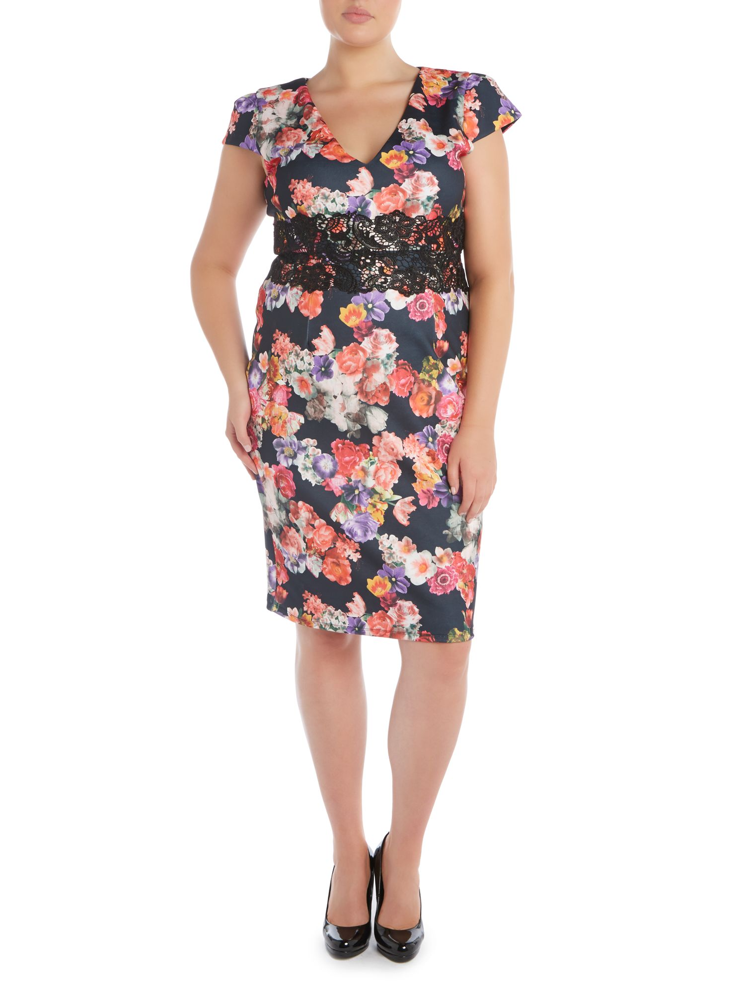Cap SL Floral Dress
