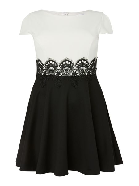 Lipstick Boutique Short sleeved Two Tone Lace Waist Dress