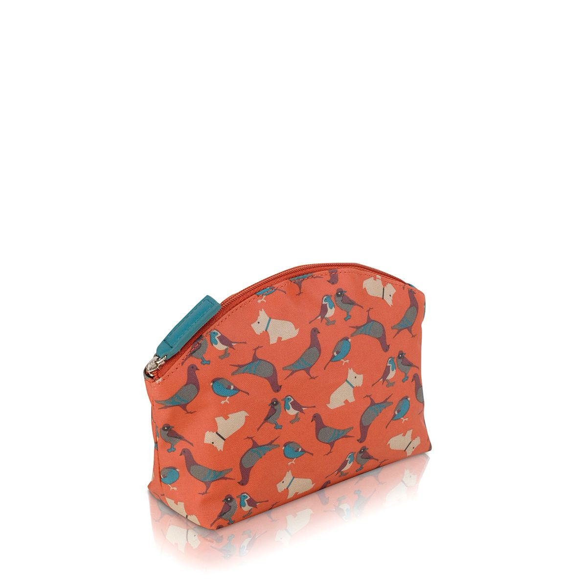 A little bird told me orange zip cosmetic case