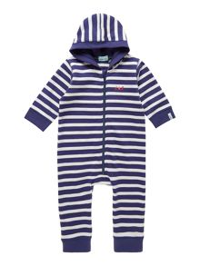 Baby stripe hooded sweat all in one