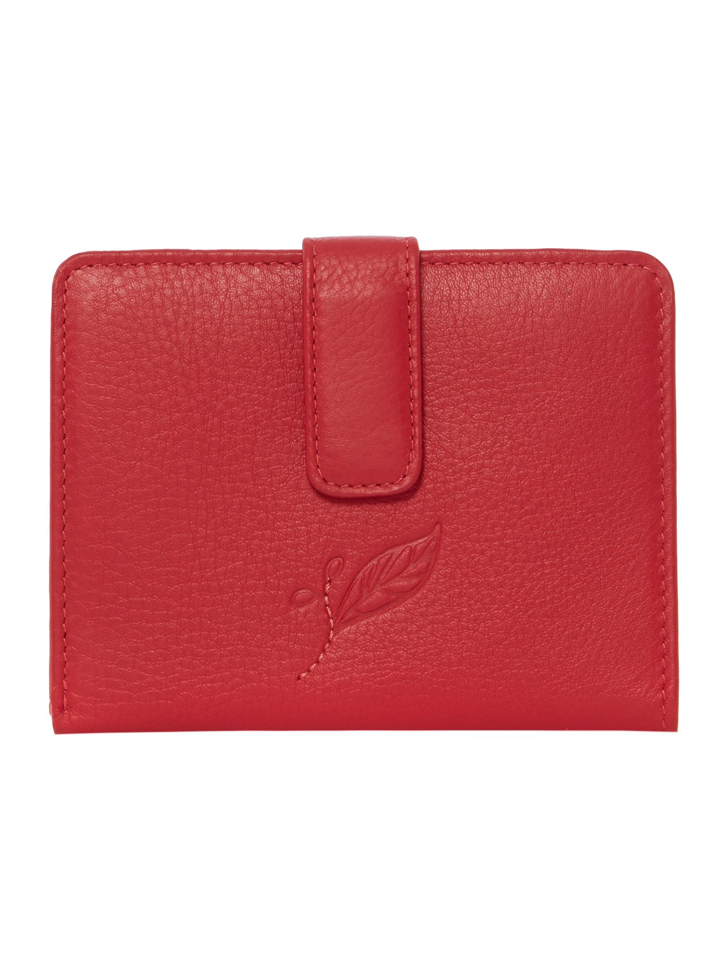 Laurel leaf red medium zip around tab purse