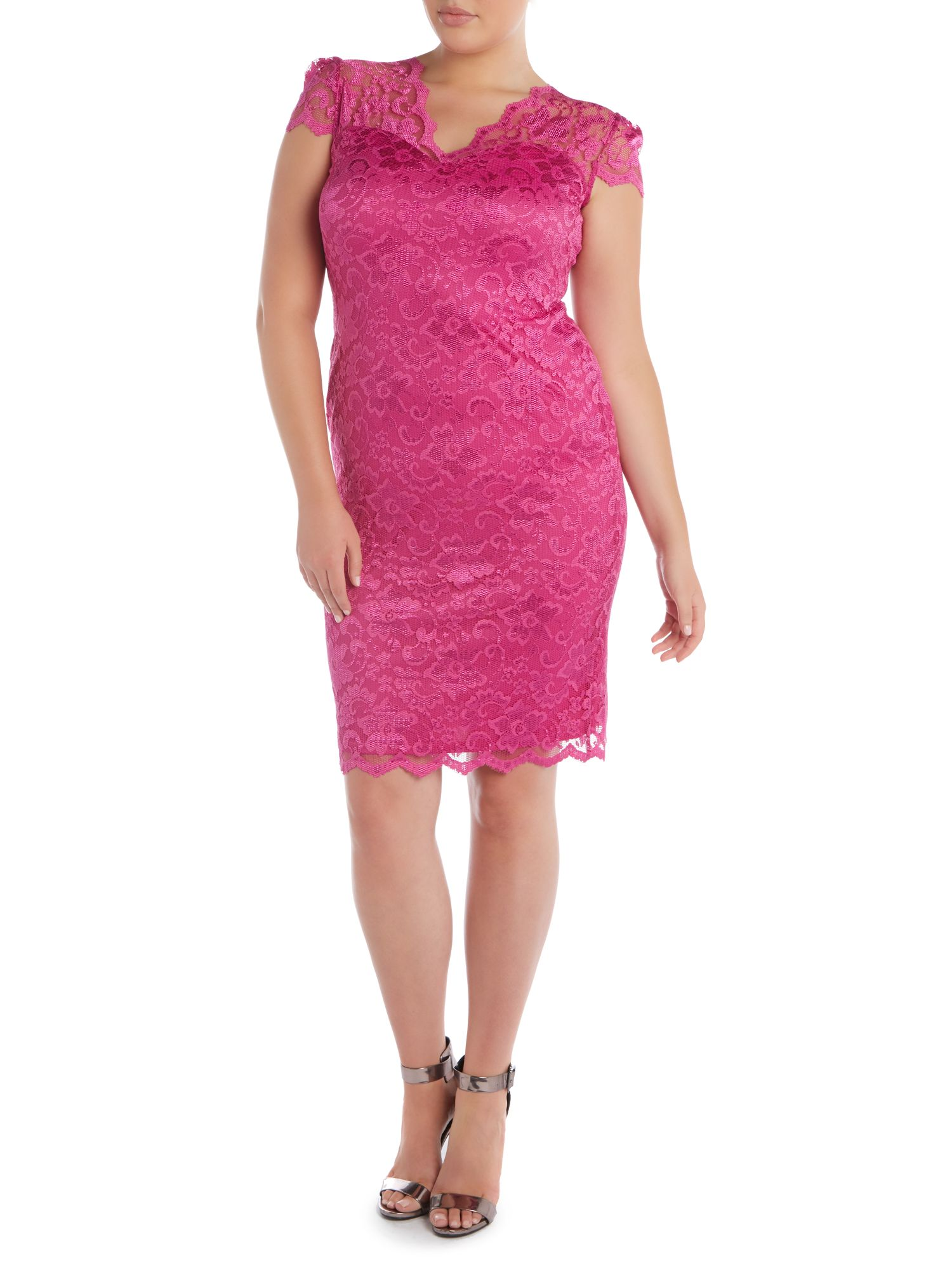 Cap sleeved lace bodycon dress