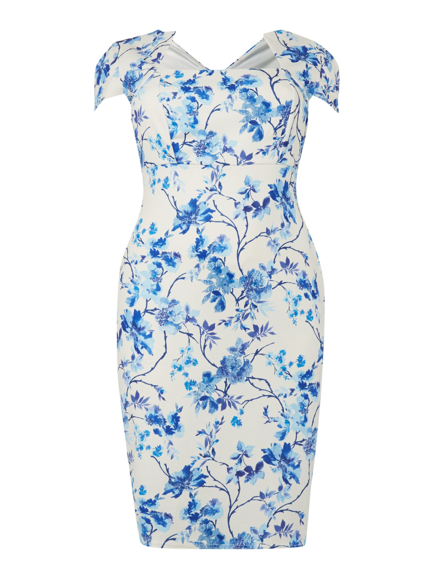Cap Sl Floral Print Bodycon Dress