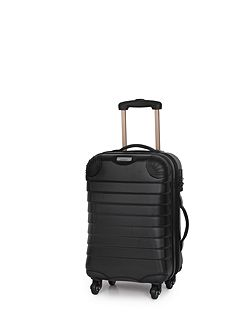 Shell black 4 wheel hard cabin suitcase