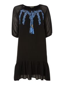 Tie neck embroidered detail drop waist dress