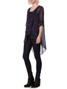 Alma print long tail blouse