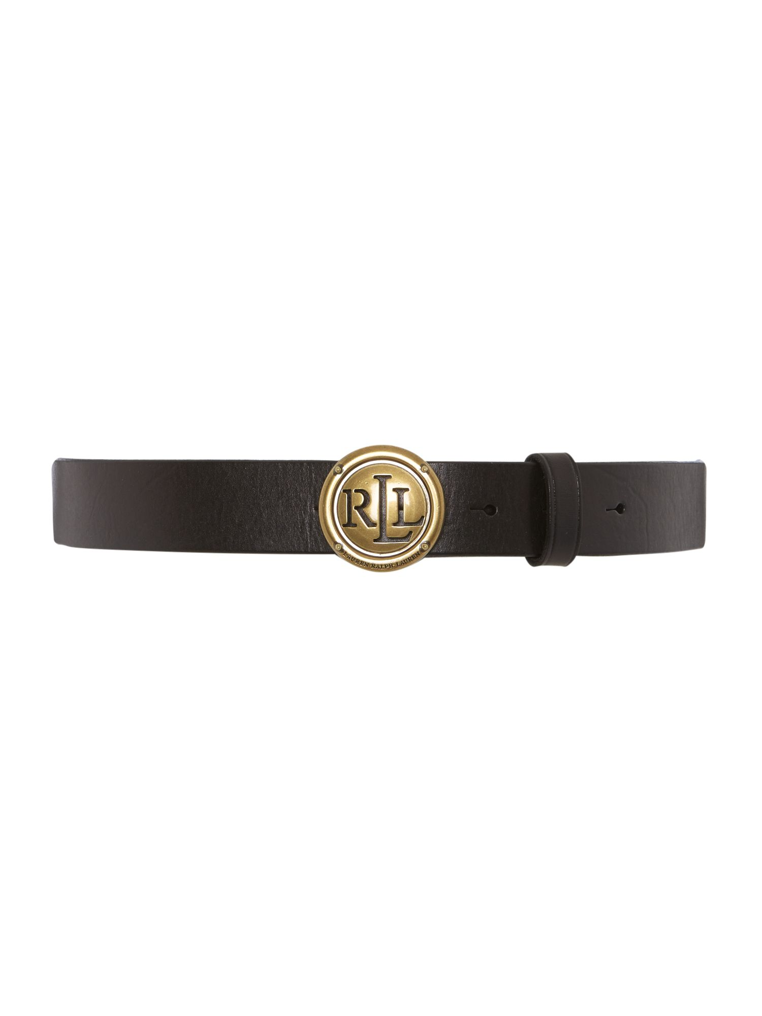Lauren classic black leather signature belt